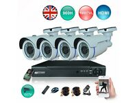 4 x CCTV Dome/Bullet Cameras, 4 Channel DVR, 1TB Hard Drive (Full HD System)