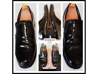 Mens Barker Hadley black full leather slip on shoes (£185) And boxed. Size 10.5