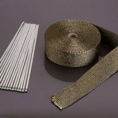 20M Titanium Exhaust Heat Wrap Manifold Downpipe High Temp Bandage Tape Roll UK