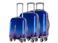 4 Wheel Spinner Hard Shell Trolley Suitcase Luggage Set Cabin Case Travel Set Of 3 ABS Holiday Dubai