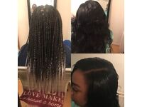 Afro Caribbean and Caucasian hair stylist for braids, box braids, weave, cornrows, wigs