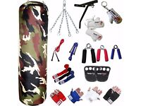 TurnerMAX Boxing Set Punch Bag Kit Boxing Equipment Gloves Bracket Rope Camouflage