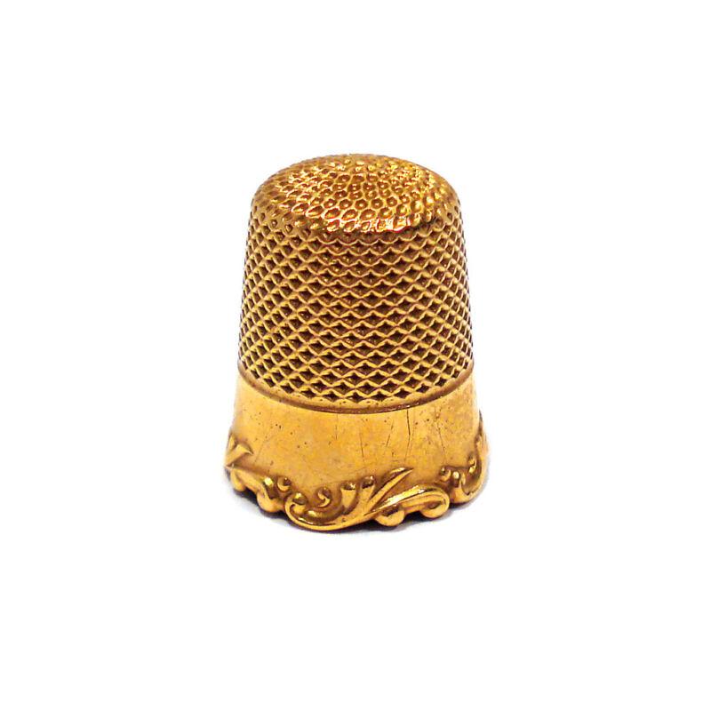SOLID 14K YELLOW GOLD THIMBLE ~ NO MONO