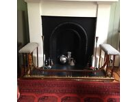 Fire surround and dog & basket