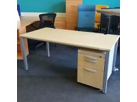 Maple Desk with Mobile Pedestal