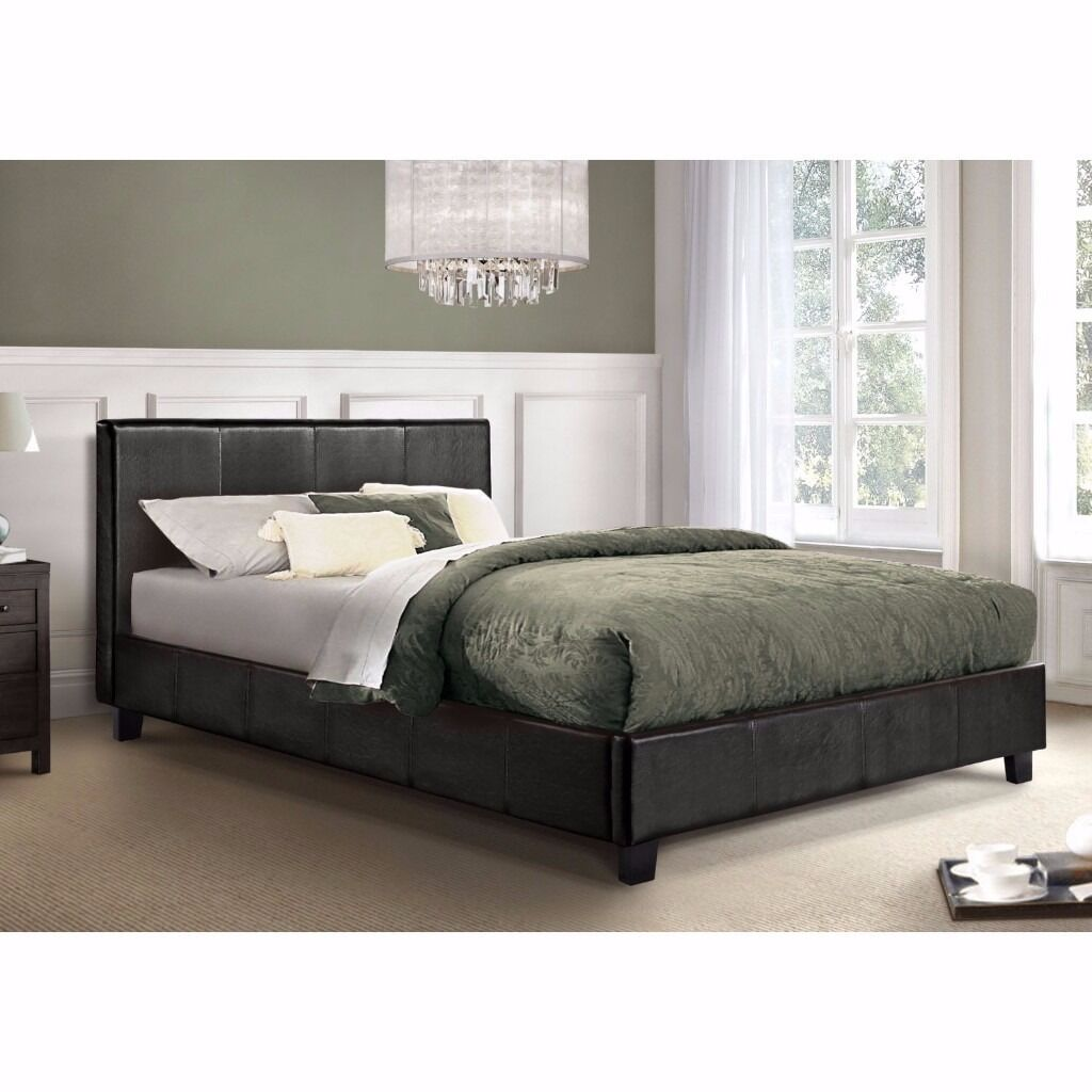 """ITALIAN FAUX LEATHER LOW FRAME 4FT6 DOUBLE BED £69 ONLY, WITH 9"""" DUAL-SIDED DEEP QUILT MATTRESS £119"""