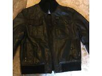 FULL CIRCLE black leather jacket bomber style jacket SIZE L