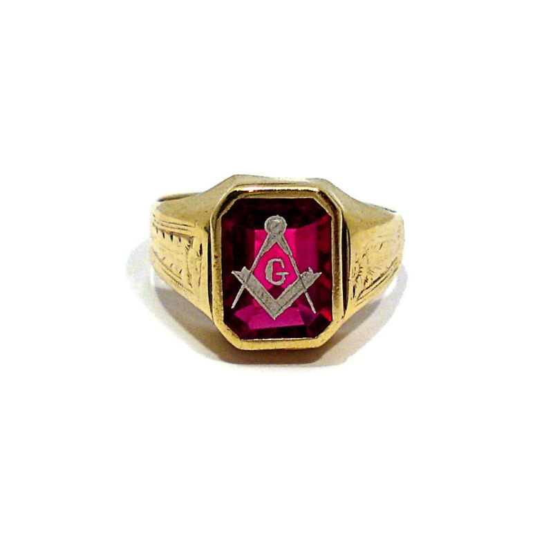 SOLID 10K YELLOW GOLD SYNTHETIC RUBY MASONIC RING ~ SIZE 8 3/4