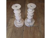 2 painted in pink chalk paint wooden shabby chic candlestick holders s