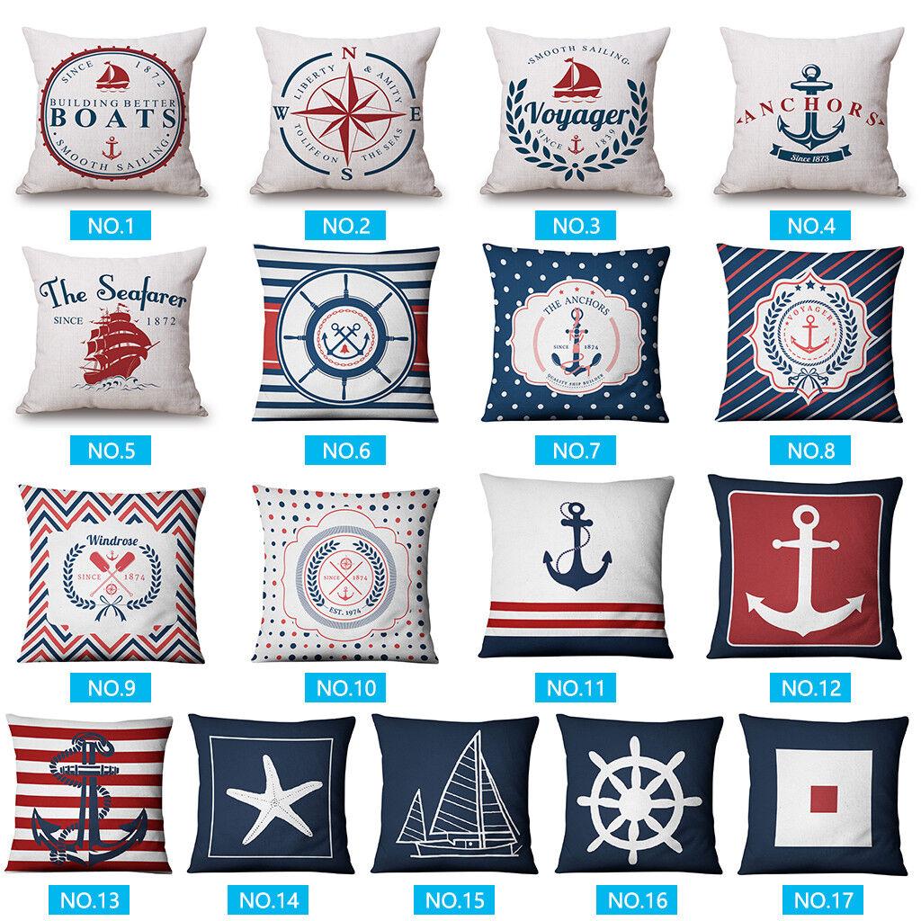 Anchor Pattern Cushion Cover Sea Marine Ship Blue Compass De