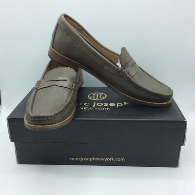 Marc Joseph Womens East Village Penny Loafers Gray Graphite