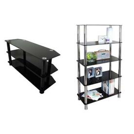 Tempered glass tv unit and bookcase
