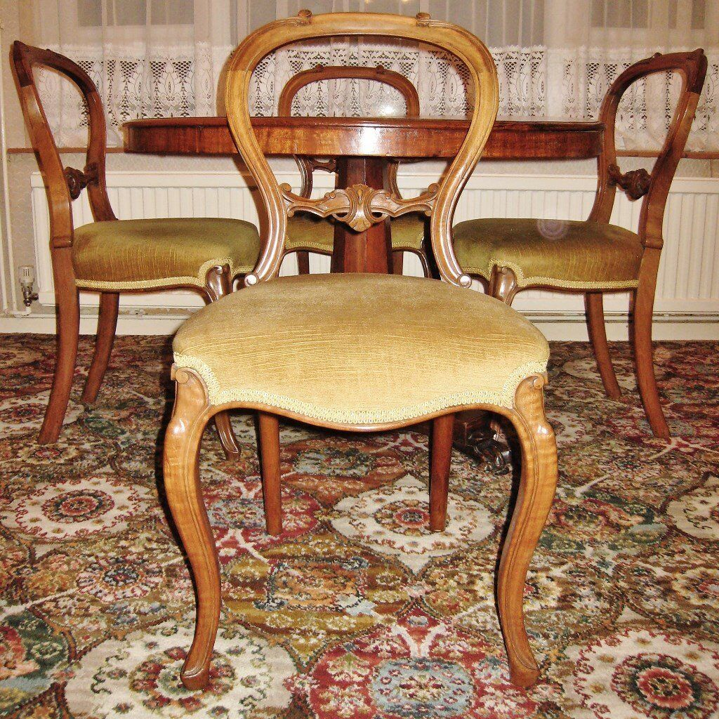 Antique Victorian Mahogany Circular Pedestal Table   Four Walnut Carved  Balloon Back Dining Chairs. Antique Victorian Mahogany Circular Pedestal Table   Four Walnut