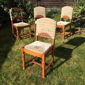 Four hand carved vintage oak dining room chairs 100 years + old