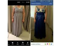 Two dresses blue size 12-14 Grey size 16