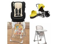 BABY ESSENTIALS: TRAVEL SYSTEM, HIGH CHAIR, SWING+ROCKER, COMPATIBLE CAR SEAT, LARGE TRAVEL BED