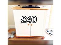 White pine wooden shabby chic TV cabinet + cupboard.