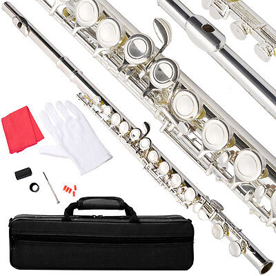 NEW NICKEL/SILVER SCHOOL BAND STUDENT C FLUTE w/KIT CASE GLOVES on Rummage