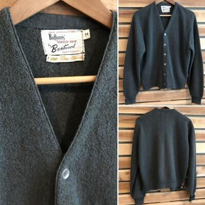 Rare VTG 60s Gray Brentwood Sportswear Alpaca Cardigan Grandpa Sweater Golf L