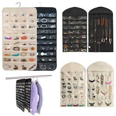 Jewelry Hanging Storage Organizer 80 Pocket Holder Earring Display Pouch Bag US