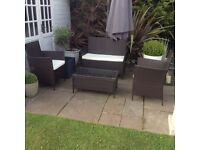 Rattan garden patio/conservatory sofa,2 chairs and coffee table