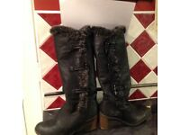 Ladies black high leg boots