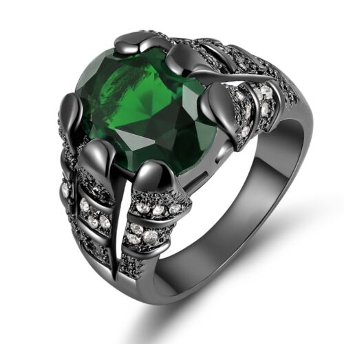 Fashion Luxury Size 7-11 Green Emerald Gold Filled Mens Engagement Wedding Ring