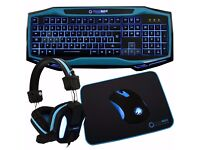 RAPTOR 4 IN 1, keyboard & mouse, mouse pad, headphones, BLUE PC SKY NEW