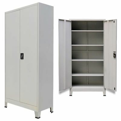 Vidaxl Office Cabinet W 2 Doors Steel Gray Home File Organize Storage Locker