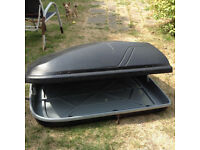 large Halfords roof box and bars