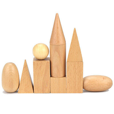 Montessori Polished Wooden Geometric Solids Blocks, 3D Shapes (Set of 10)