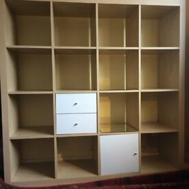 Ikea Expedit 4x4 Storage shelving (16 square shelves incl. white drawers & cupboard) Originally £150