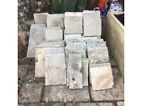 PATIO PAVING SLABS - assorted sizes, previously used.