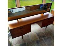 Vintage White and Newton Teak MCM Dressing Table Desk