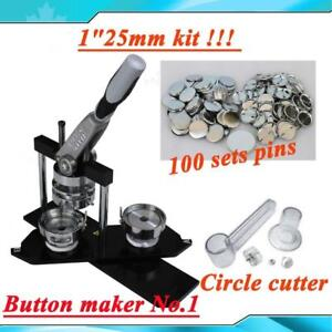 """Title:Button maker kit!! ALL METAL BEST QUALITY DIY 1"""" Button maker kit!! Badge Maker+Circle Cutter+100 Pins (015330)"""