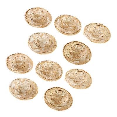 10 Stück Miniatur Strohhüte für Handwerk für 1/12 Puppenhaus ()
