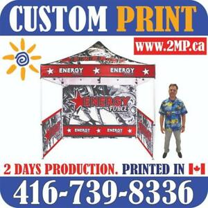 FAST PRODUCTION Custom Printed Pop Up TENTS Heavy Duty Frames Advertising FLAGS + Full Color Canopy Graphics Trade Show