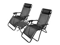 Still in box and never used: 2 anti gravity reclining chairs and table
