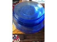 Blue glass crockery