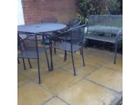 Garden Table, Chairs and Bench with cushions