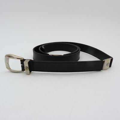 VERSACE BLACK LEATHER BELT WITH STAINLESS STEEL PANELS, SIZE 52