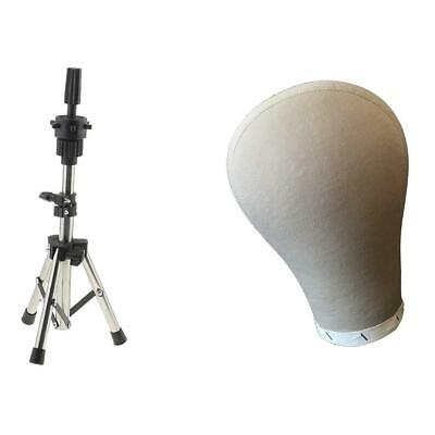 21 Inch Cork Head Canvas Cover Wig Making Set Manikin Holder Stand