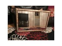 Solid wood floral patterned frames large rectangular mirror