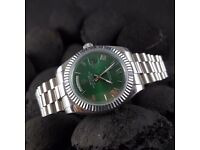 New green roman dial silver presidential bracelet Rolex Day date Mens watch automatic sweeping