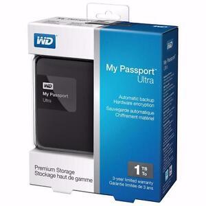 "WD My Passport ULTRA Slim 1TB 2.5"" USB Portable External Hard Drive - Black 79$"