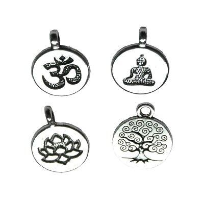 Bulk! Tibetan Silver Tree Of Life/Lotus/Buddha Yoga/Ohm Aum Symbol Charm Pendant (Yoga Charms)