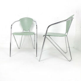 Set of 4 Vintage Italian Effezeta Dining Chairs DELIVERY POSS Chrome Arsenic Green Leather Retro