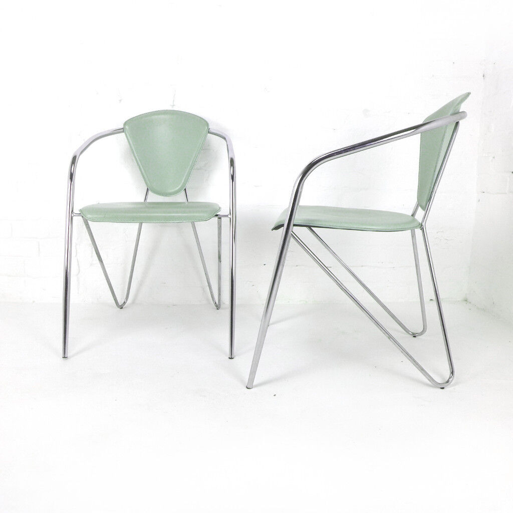 Set of 4 Vintage Italian Effezeta Dining Chairs DELIVERY POSS Chrome Arsenic Green Leather Retro