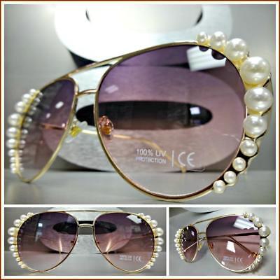 Classy LUXURY PEARL Designer RETRO Style SUNGLASSES Gold Frame Rose Tint Lens