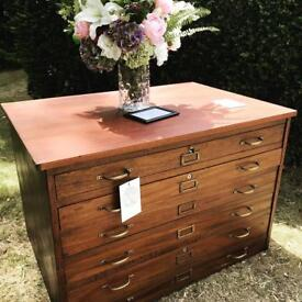 Vintage Plan Chest - solid wood